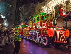 The Smokey Mary train float in the 2013 Krewe of Orpheus Mardi Gras Parade in New Orleans, Feb. Christmas Parade Floats, Mardi Gras Float, Madi Gras, Train Light, New Orleans Mardi Gras, Mardi Gras Parade, Christmas Program, Mardi Gras Decorations, New Orleans Louisiana