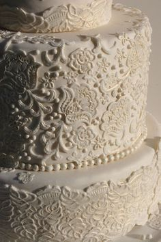 Wedding Ideas: white-lace-wedding-cake ____________________________________________ I think my heart just stopped. Send help... and cake