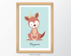 Kangaroo print, kids and nursery wall art poster, for children of all ages, A4 size