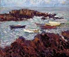 """Lobster Cove, Ogunquit,"" Walt Kuhn, 1912, oil on canvas, 20-1/8 x 24-1/8"", Portland Museum of Art."