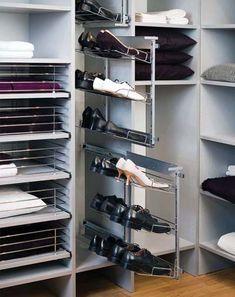 Выкатная система для хранения обуви.