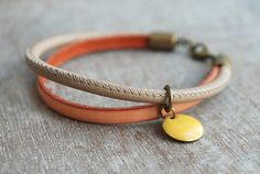"""Sahare """"""""  nappa leather bracelet // apricot, beige, mustard // urban romantic // for her // summer on Etsy, $27.98"""
