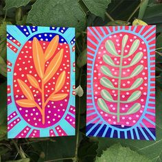 Days 18 & 19 Index Card a Day . I'm loving how vibrant these are. Devoted to plants and color. Pattern Art, Abstract Pattern, Abstract Art, Dot Painting, Artist Painting, Art Journal Pages, Art Journals, Art For Art Sake, Artist Trading Cards