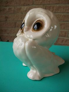 SPRING CLEAN SALESuper Sweet White Snow Owl  Ceramic by a2ndlife, $5.00