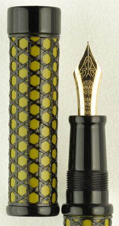 Nakaya Kago-amime (Basket Mesh) Bright Green. With its basket mesh pattern delicately woven on top of ebonite, this  fountain pen provides a new textural and visual writing experience. Employing ancient basket weaving techniques and fusing them with modern shapes and colors, Nakaya has produced an innovative model to add to its line of writing instruments. This chartreuse green adds a vivid contrast to the lacy black weaving. Also available in Araishu and Indigo Blue. $1800.