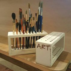 Art storage, homemade paint, colored pencil storage, painting station, my a Home Art Studios, Art Studio At Home, Art Supplies Storage, Art Storage, Colored Pencil Storage, Rangement Art, Artist Workspace, Paint Brush Holders, Art Studio Design