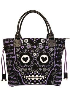 GOTH - Purple Candy Skull Black Canvas Handbag by Banned | Gothic