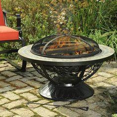 19H x30  175    Sunjoy Monica Steel Slate Top Fire Pit
