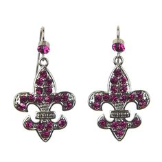 Fuchsia crystals on a silver base French hooks with a crystal accent Dimensions…