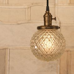 Pendant Lighting With Vintage Crystal Cut Design Glass Shade. $128.00, via Etsy.