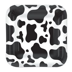 Cow Print Black and White Square Paper Party Plates, Pack of 8, £2.59