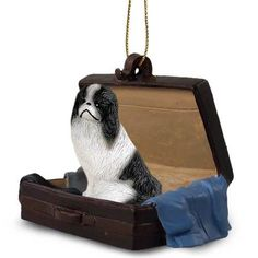Japanese Chin Black White Tag Along Carrycase Ornament