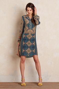 Anthropologie EU Asha Silk Henley Dress