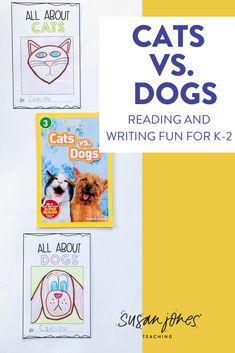 Looking for some fun, new reading and writing activities to use with your first and second grade students?! They love reading these two books about cats and dogs and write their opinions using factual information to decide which is better! Head over to the blog to read more!   #firstgradereading #firstgradewriting #firstgradeactivities