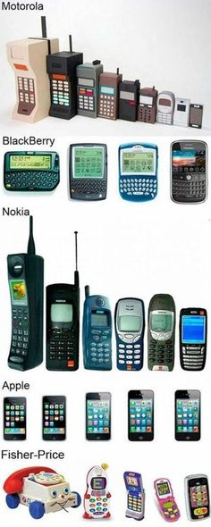 Evolution of the cell phone. Including Fisher Price! Keeping this to show the kids someday!