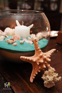 Sea shell and candle centerpiece nautical & beach theme ракушки. Fishbowl Centerpiece, Sweet 16 Centerpieces, Beach Wedding Centerpieces, Beach Wedding Guests, Summer Wedding, Seashell Candles, Mermaid Baby Showers, Under The Sea Theme, Colored Sand