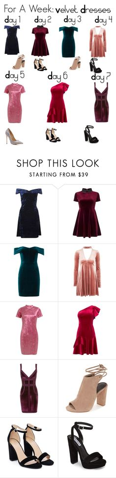 """For A Week: Velvet Dresses"" by grace-alexandria ❤ liked on Polyvore featuring Dorothy Perkins, Miss Selfridge, Nicholas, Oh My Love, Sans Souci, Coast, Nasty Gal and Steve Madden"