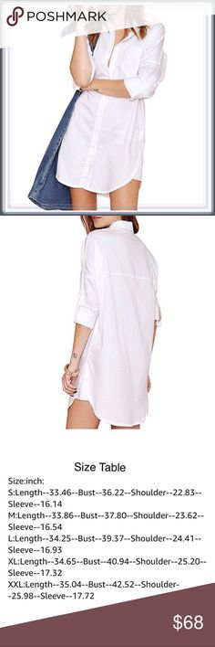 🆕 The Boyfriend Shirt Dress ➖SIZE: Small, Medium, Large, XL/1X , XXL/2X -please refer to the size chart for measurements.  ➖STYLE: The perfect white (not see through) button down shirtdress. Simple but trendy   ❌NO TRADE    455808 Dresses Mini