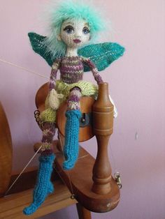 """Tree Fairy"".  Based on Fiona McDonald's pattern from ""Knitted Fairies to Cherish & Charm""."