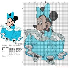Disney Minnie Princesse Cendrillon grille motif point de croix