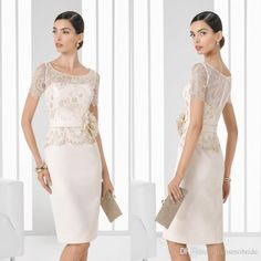 2017 High Quality Knee Length Mother Of The Bride Dresses Lace Short Sleeve Flowers Made China Groom Gowns Formal Wedding Guest Dress Grandmother Of Bride Dresses Jade Couture Mother Of The Bride Dresses From Cosmobride, $105.53| Dhgate.Com