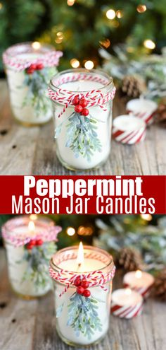 Peppermint Mason Jar Candles DIY Peppermint Candles - how to make soy candles in a mason jar.DIY Peppermint Mason Jar Candles DIY Peppermint Candles - how to make soy candles in a mason jar. Pot Mason Diy, Diy Cadeau Noel, Navidad Diy, Homemade Candles, Diy Candles Soy, Diy Candle Ideas, Diy Candels, Diy Candles To Sell, Mason Jar Candles