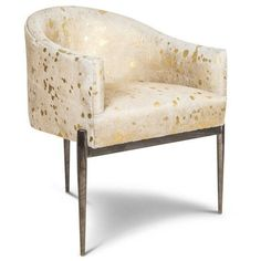 Art Deco Dining Chair In Golden Cowhide ($956) ❤ Liked On Polyvore  Featuring Home
