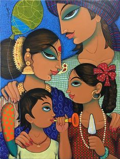 Buy family 2 painting online - the original artwork by artist Varsha Kharatmal, exclusively available at Mojarto only. Check price, images and description online. Madhubani Art, Madhubani Painting, Bengali Art, Indian Art Gallery, Indian Contemporary Art, Ac2, Art Village, Family Painting, Indian Folk Art