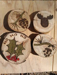 Wooden Christmas Ornaments, Set of Four, Moose, Pine Cone Pine Tree, Holly and Berry