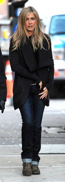 Jennifer Aniston's style is spot on. Everyone knows it. dark denim jeans, black sweater wrap.