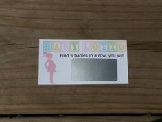 Hey, I found this really awesome Etsy listing at https://www.etsy.com/listing/109151481/baby-lotto-pink-scratch-off-tickets