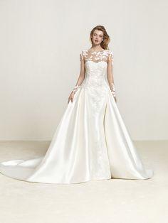 Vestido de novia sirena con sobrefalda - Draline
