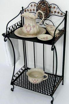 German Porcelain Wash Set on Stand.