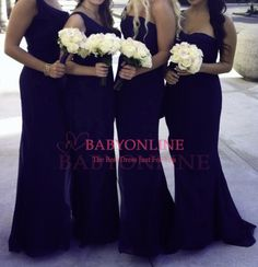 One Shoulder Country Style Dark Navy Blue Bridesmaid Dresses Long Formal Dresses