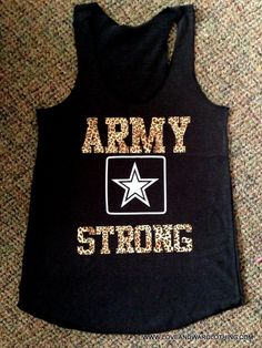 Army strong leopard print tank top - LARGE