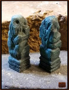 Pitted Green Cthulhu Idol on High Pillar  Hand Carved