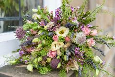 """A wild """"just-picked"""" look Muted Colors, Wild Flowers, Floral Wreath, Wreaths, Garden, Mary, Inspiration, Vintage, Soothing Colors"""