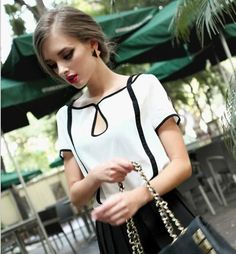 2017 new European style big range of modern retro black and white hit color chiffon shirt short-sleeved