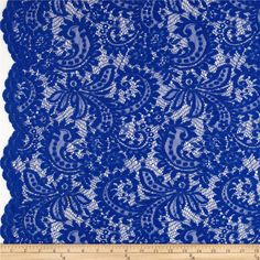 Telio Amelia Stretch Lace Royal Blue from @fabricdotcom  This beautiful lace fabric is perfect for tops, overlays, accents and lingerie. It features a slight stretch and scalloped borders along both selvedges.