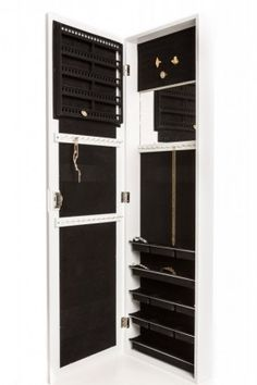 Jewelry Armoire Wall Mount, Hanging Over the Door Jewelry Armoire with Mirror, Locking Jewelry Armoire White Cabinet with Lock for Added Safety, Security. Safely Lock Store Jewelry. Jewelry Organizer, Holder. Necklaces, Bracelets, Earrings Org