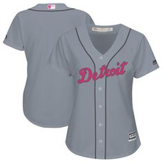 Women's Detroit Tigers Majestic Gray Mother's Day Cool Base Replica Team Jersey. Perfect Gift for Mom on Mother's Day!