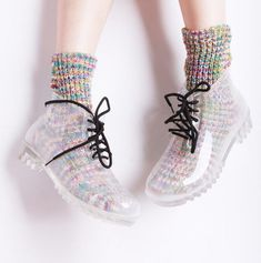 transparent Rubber Womens rain shoes Lace-Up Ankle boots clear galoshes - Clear Boots - Ideas of Clear Boots - transparent Rubber Womens rain shoes Lace-Up Ankle boots clear galoshes Price : Lace Up Ankle Boots, Shoe Boots, Wellies Boots, Sneaker Women, Mode Kawaii, Mode Shoes, Rain Shoes, Women's Shoes, Mode Inspiration