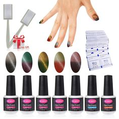 Magnetic Changing Color Nail Polish Set 5pcs Gel Polish Top and Base Coat with 50 pcs Remover Wrap Soak Off UV LED Nail Art Kit 1pc Magic Magnet Stick Free Gift Set >>> Wow! I love this. Check it out now! : Travel Makeup