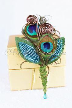 Peacock Feather Groom Boutonniere  #wedding #tuxedo #groom #prom #groompin #broochpin #lapel #boutonniere #bestman #weddinginspiration #bridal #weddings #crystalbrooch #peacockfeather #groomsman #weddings #weddingidea #inspiration #sandiego #peacock #peacockwedding #newyorkwedding #californiawedding #rusticwedding #luxurywedding #woodlandwedding #vintagewedding #countrywedding #destinationwedding #sandiegowedding #fashion