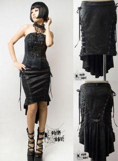 Punk Rave Rock Gothic Lolita Skirt PU Leder Schnallen Steampunk Schwarz WGT Q122