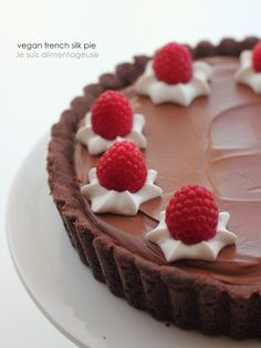 Vegan French Silk Pie- raspberries and chocolate!