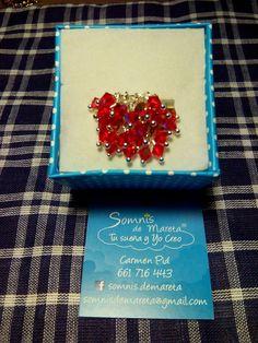Anillo Fallera rojo con cristales de swarovski