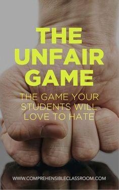 Classroom games - The Unfair Game Teaching Strategies, Teaching Resources, Teaching Art, Teaching Ideas, Teaching 6th Grade, Teaching Class, Critical Thinking Activities, Teaching Channel, Teaching Literature