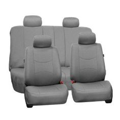 FH-FB051114 Multifunctional Flat Cloth Car Seat Covers, Airbag compatible and Split Bench, Solid Grey color $29.99