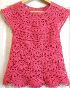 PATTERN AND VIDEO!  Lilies Tunic - Free Crochet Diagram - (senpolia):